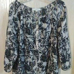 Ann Taylor Loft Sheer Black/Cream Floral Print